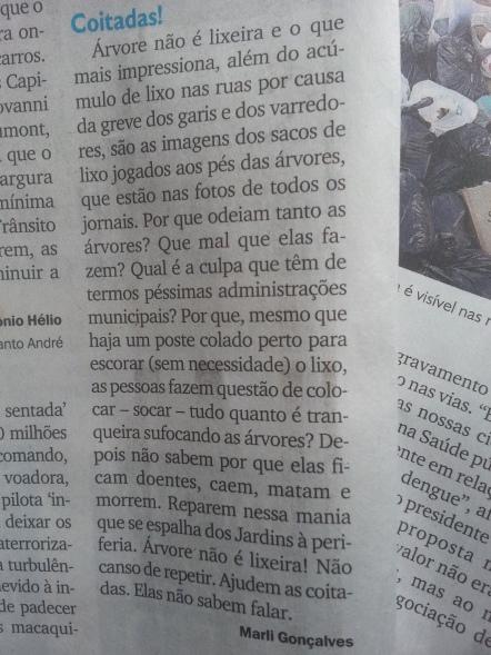 CARTA PUBLICADA NO DIÁRIO DO GRANDE ABC, EDIÇÃO DE 1º DE ABRIL