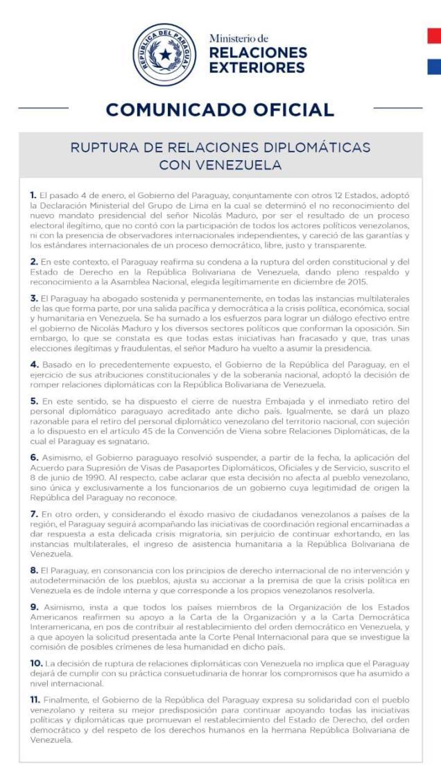 paraguai rompe com venezuela